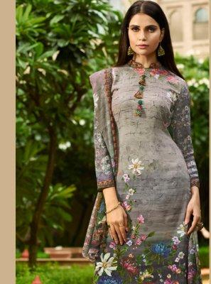 Faux Crepe Digital Print Grey Designer Pakistani Suit