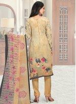Faux Crepe Digital Print Multi Colour Pant Style Suit