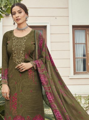 Faux Crepe Embroidered Designer Palazzo Suit in Green