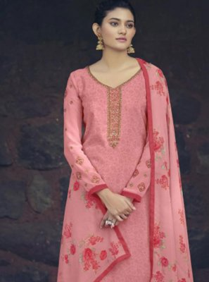 Faux Crepe Embroidered Salwar Suit