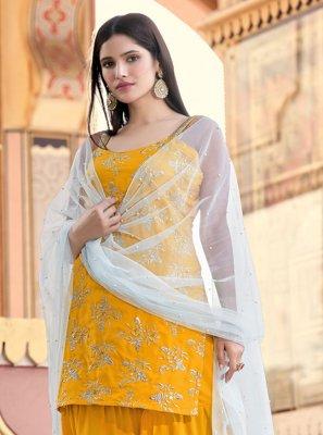 Faux Crepe Fancy Mustard Designer Pakistani Salwar Suit