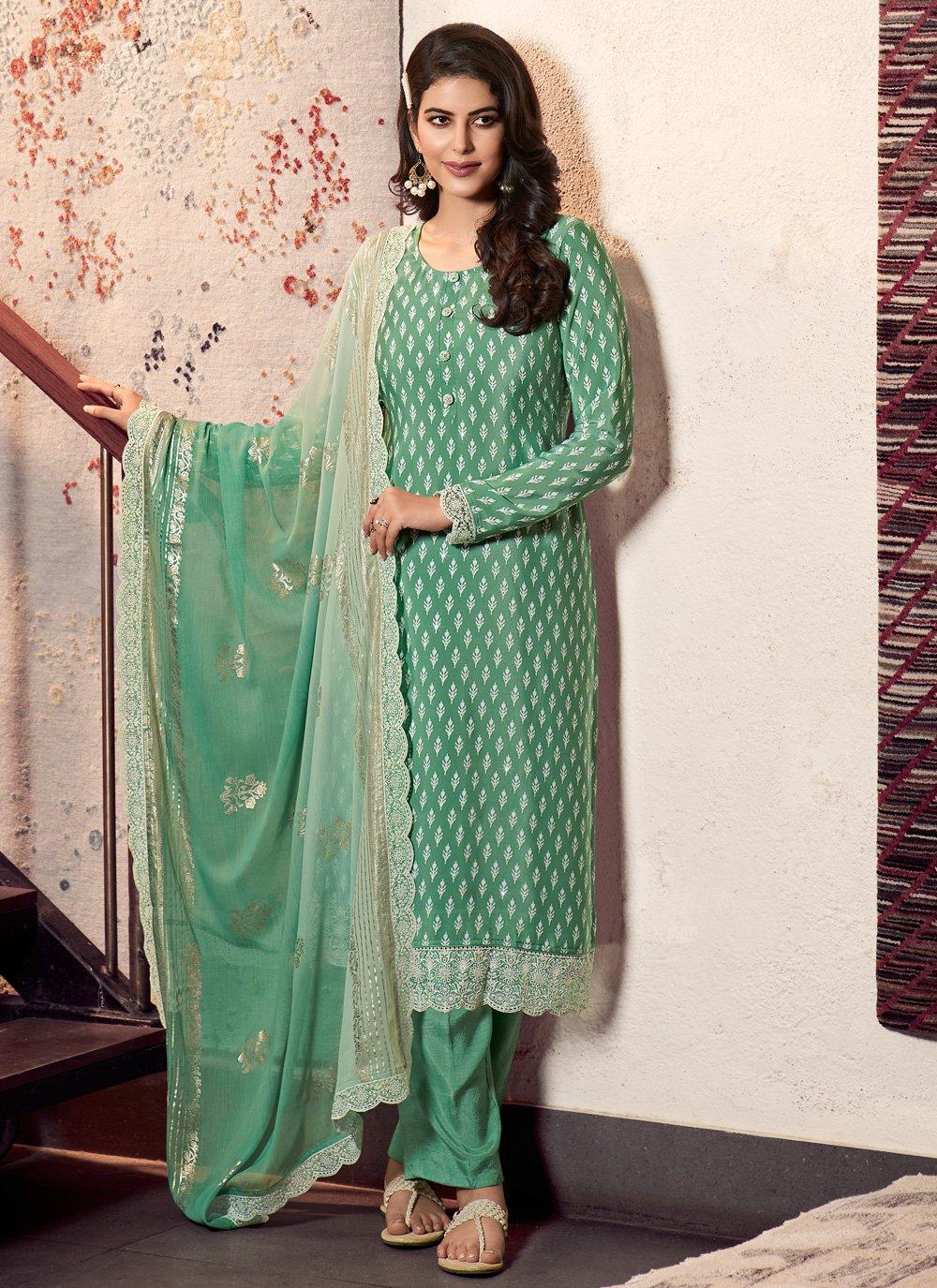 Faux Crepe Green Designer Straight Suit