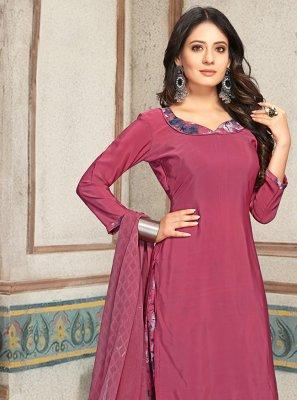 Faux Crepe Magenta Print Punjabi Suit