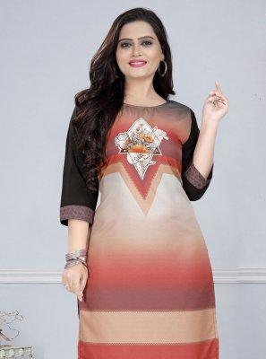 Faux Crepe Mukesh Multi Colour Party Wear Kurti