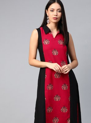 Faux Crepe Multi Colour Casual Kurti