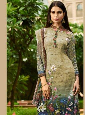Faux Crepe Multi Colour Digital Print Designer Pakistani Suit