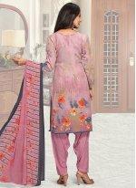 Faux Crepe Multi Colour Patiala Suit