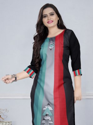 Faux Crepe Multi Colour Print Party Wear Kurti