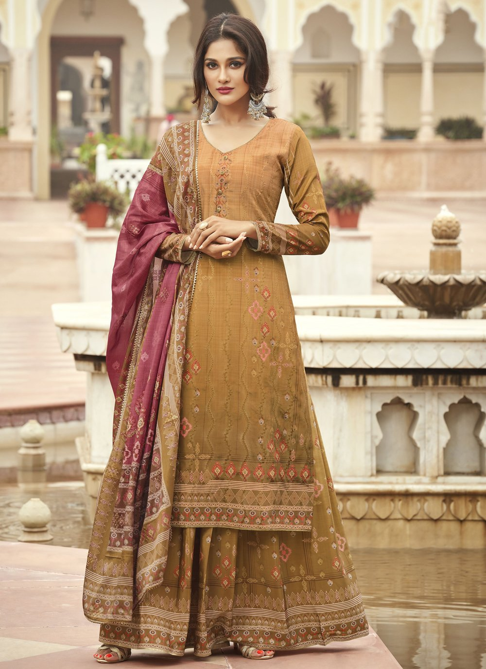 Faux Crepe Mustard Embroidered Designer Palazzo Suit