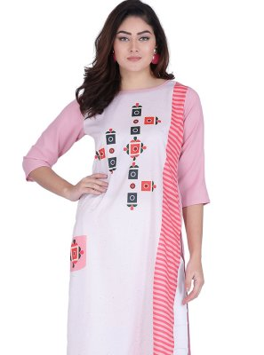 Faux Crepe Party Wear Kurti in Multi Colour