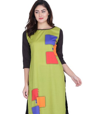 Faux Crepe Print Green Party Wear Kurti