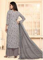 Faux Crepe Print Grey Palazzo Salwar Suit
