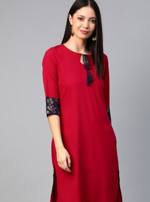 Faux Crepe Print Party Wear Kurti in Red