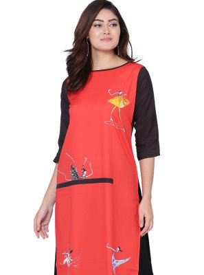 Faux Crepe Print Red Party Wear Kurti