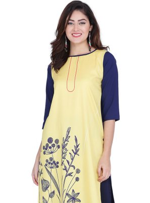 Faux Crepe Printed Yellow Party Wear Kurti