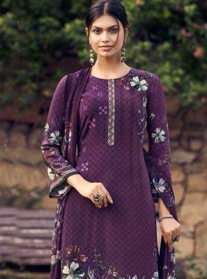 Faux Crepe Purple Printed Palazzo Suit