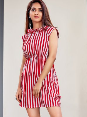 Faux Crepe Stripe Print Designer Kurti in Red