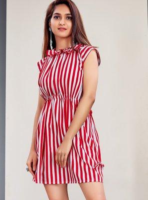 Faux Crepe Stripe Print Designer Kurti in Red