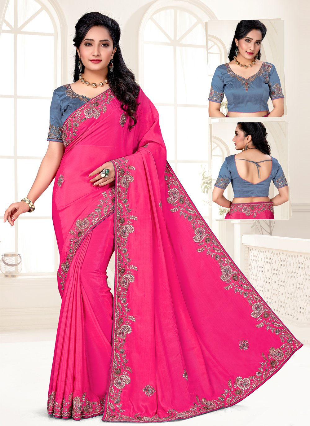Faux Crepe Trendy Saree