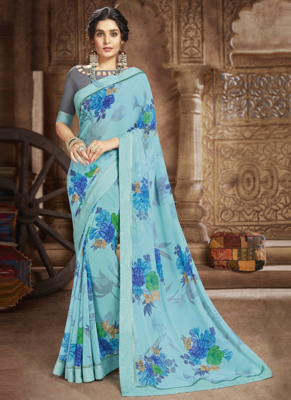 Faux Georgette Abstract Print Blue Casual Saree