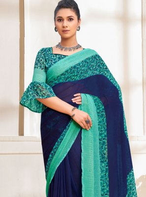 Faux Georgette Abstract Print Blue Printed Saree