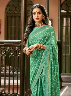 Faux Georgette Abstract Print Green Printed Saree