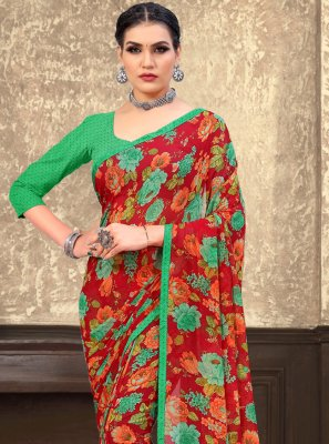 Faux Georgette Abstract Print Multi Colour Printed Saree