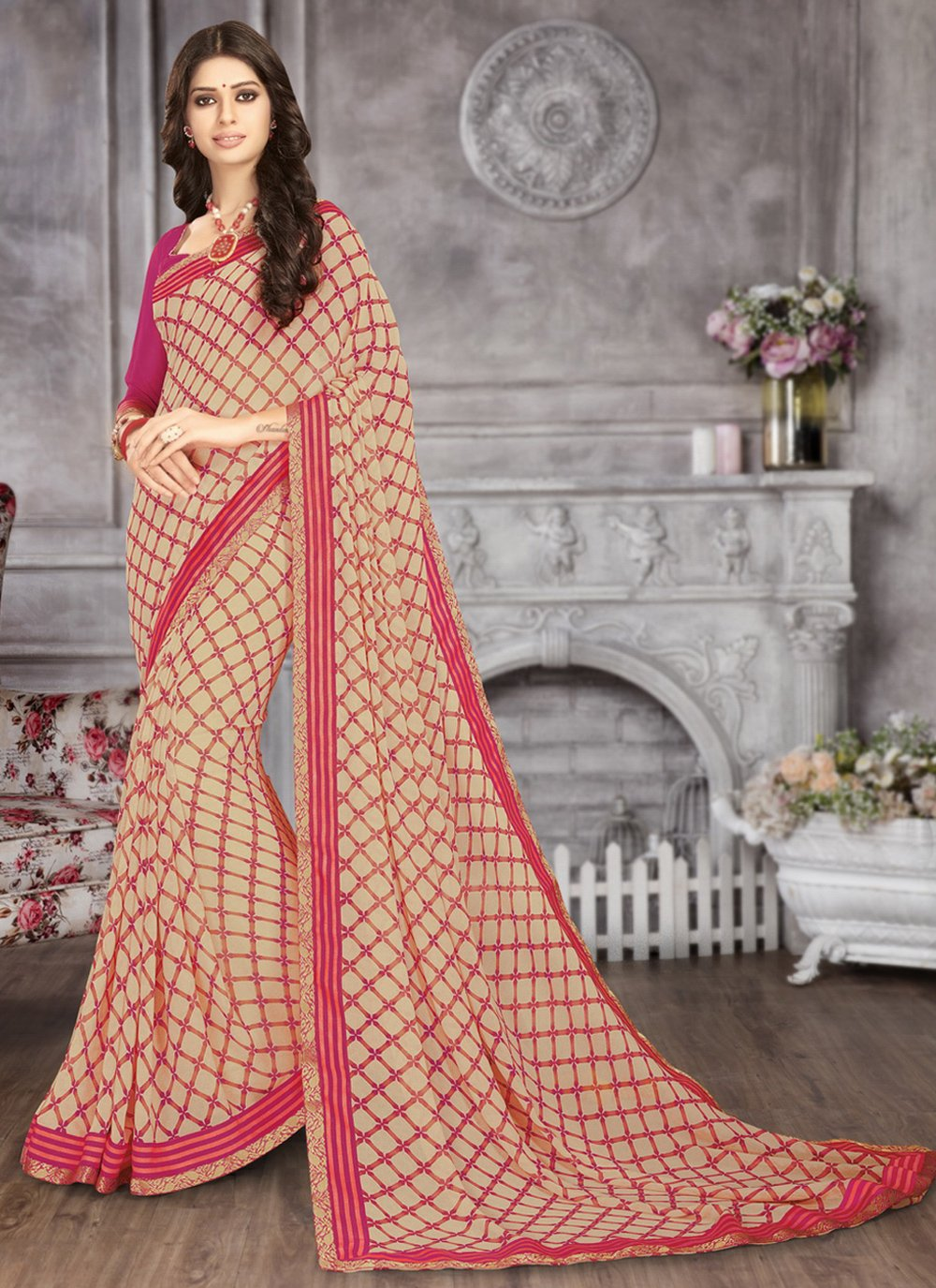 Faux Georgette Abstract Print Pink Printed Saree