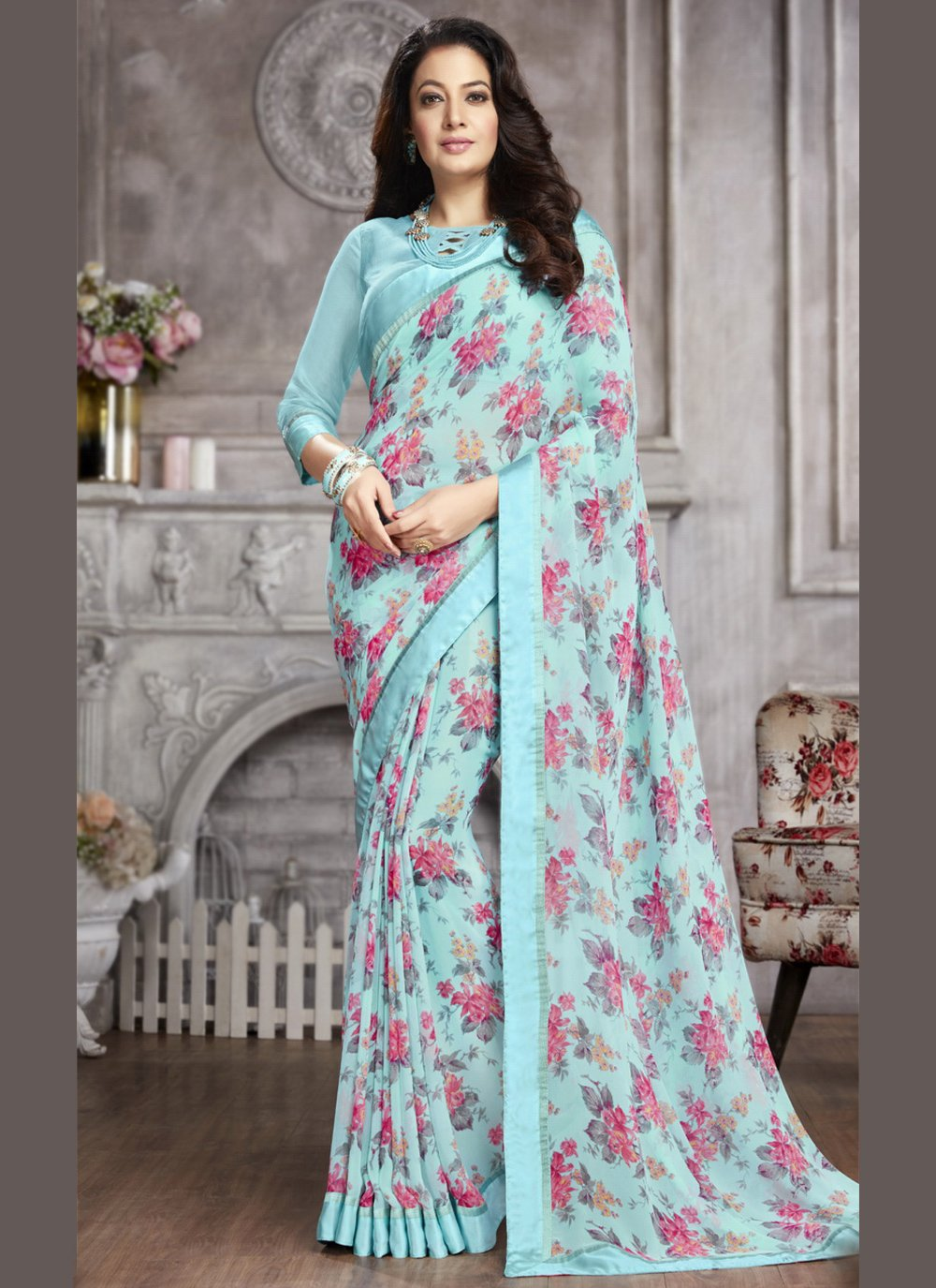 Faux Georgette Abstract Print Printed Saree in Blue