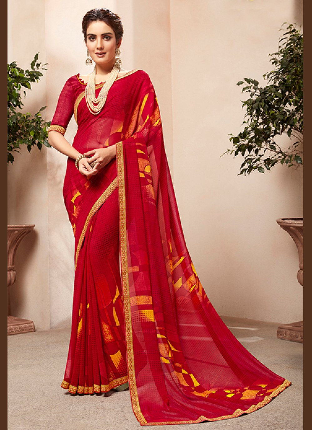 Faux Georgette Abstract Print Red Casual Saree