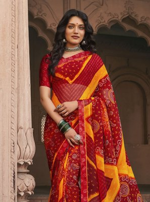 Faux Georgette Abstract Print Saree in Multi Colour