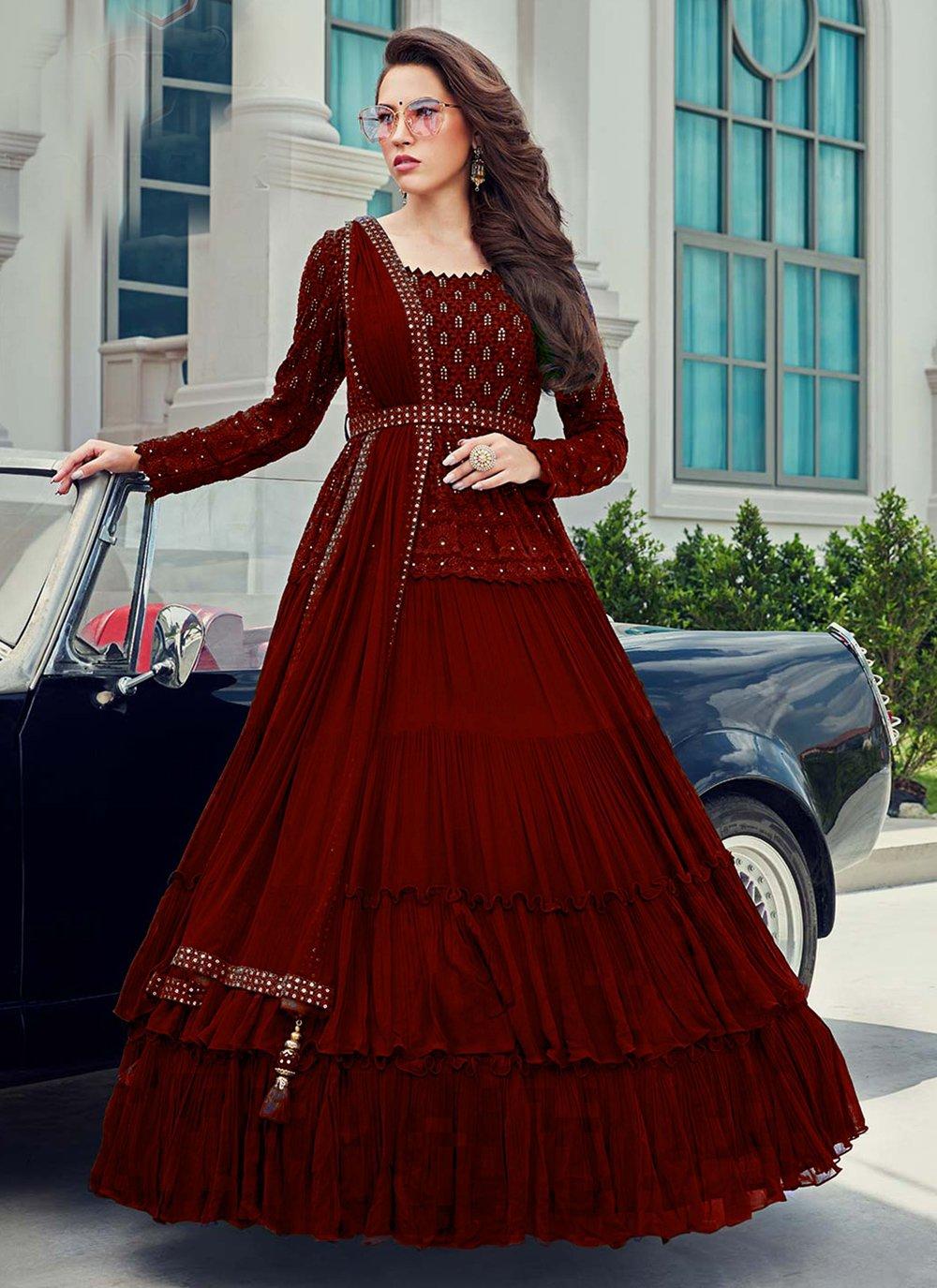 Faux Georgette Anarkali Salwar Kameez in Maroon