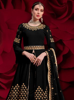 Faux Georgette Anarkali Salwar Suit in Black