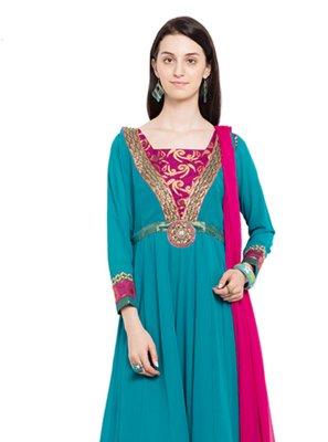 Faux Georgette Aqua Blue Readymade Anarkali Salwar Suit