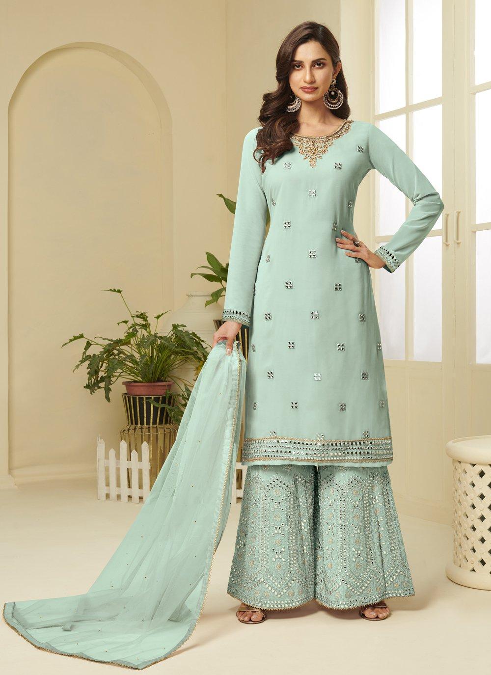 Faux Georgette Aqua Blue Resham Designer Palazzo Salwar Suit