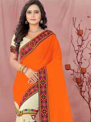 Faux Georgette Beige and Orange Patch Border Half N Half  Saree