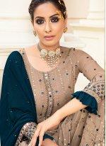 Faux Georgette Beige Designer Palazzo Salwar Suit