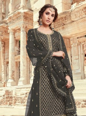 Faux Georgette Black Designer Pakistani Salwar Suit