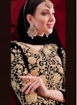 Faux Georgette Black Embroidered Anarkali Suit