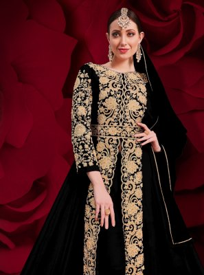 Faux Georgette Black Embroidered Anarkali Suit