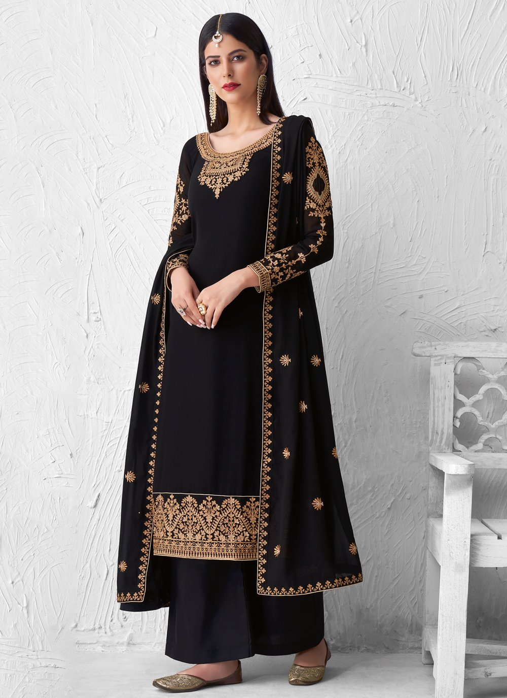 Faux Georgette Black Embroidered Designer Palazzo Suit