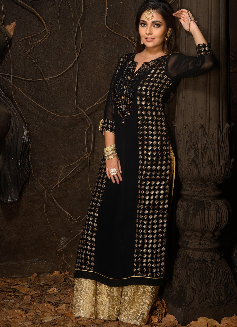Faux Georgette Black Embroidered Party Wear Kurti