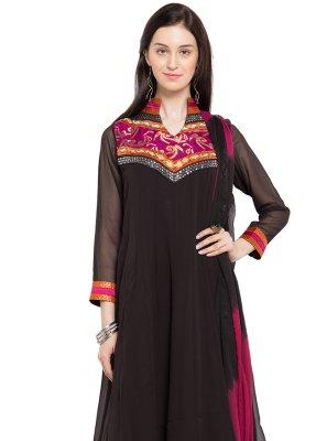 Faux Georgette Black Embroidered Readymade Anarkali Salwar Suit
