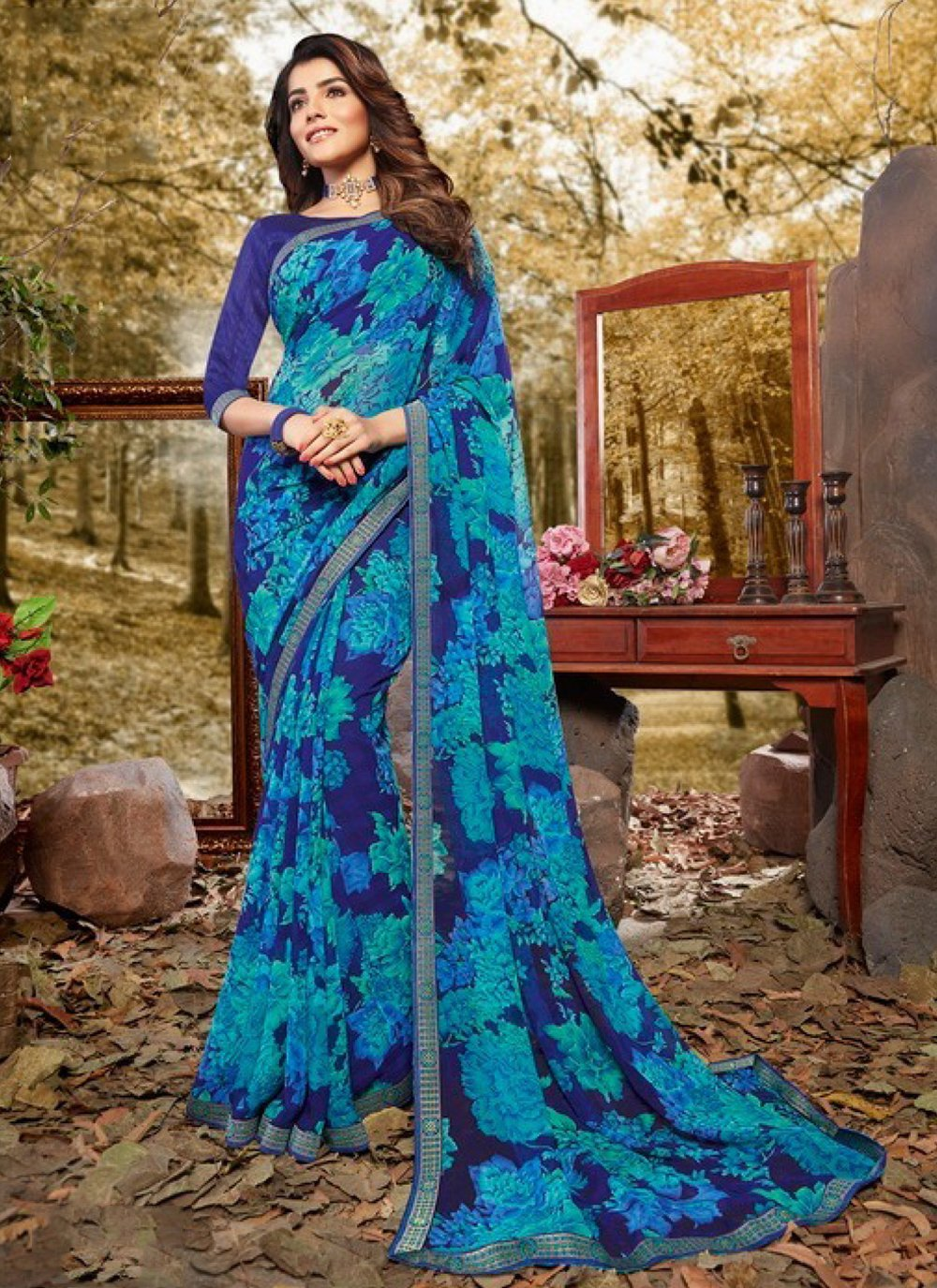 Faux Georgette Blue Abstract Print Casual Saree
