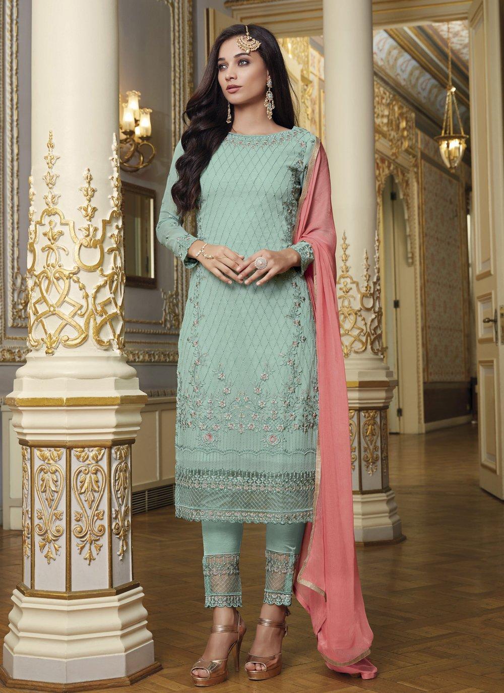Faux Georgette Blue Designer Pakistani Suit