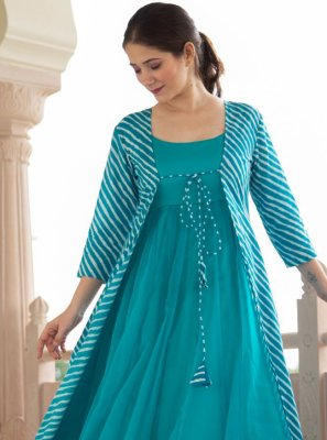 Faux Georgette Blue Party Wear Kurti