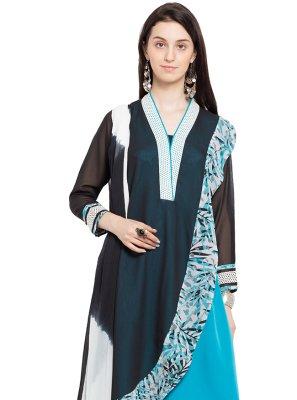 Faux Georgette Blue Printed Readymade Salwar Kameez