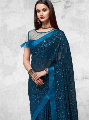 Faux Georgette Blue Sequins Designer Saree