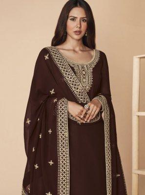 Faux Georgette Brown Designer Pakistani Salwar Suit