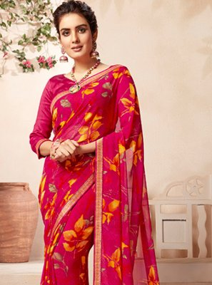 Faux Georgette Casual Saree in Rani